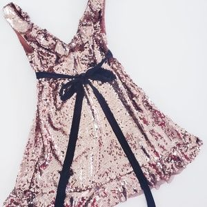 Free People Dresses - FREE PEOPLE Rose Gold Siren Sequins Mini Dress